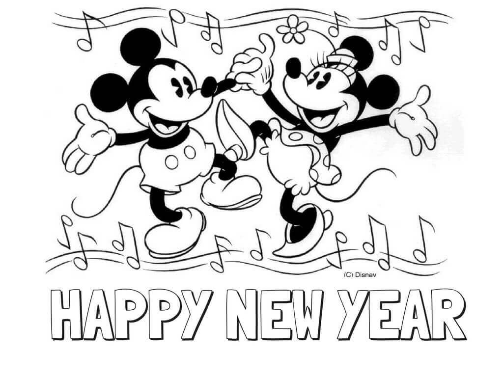 Disney New Years Coloring Pages Mickey Mouse Coloring Pages Minnie Mouse Coloring Pages Disney Coloring Pages