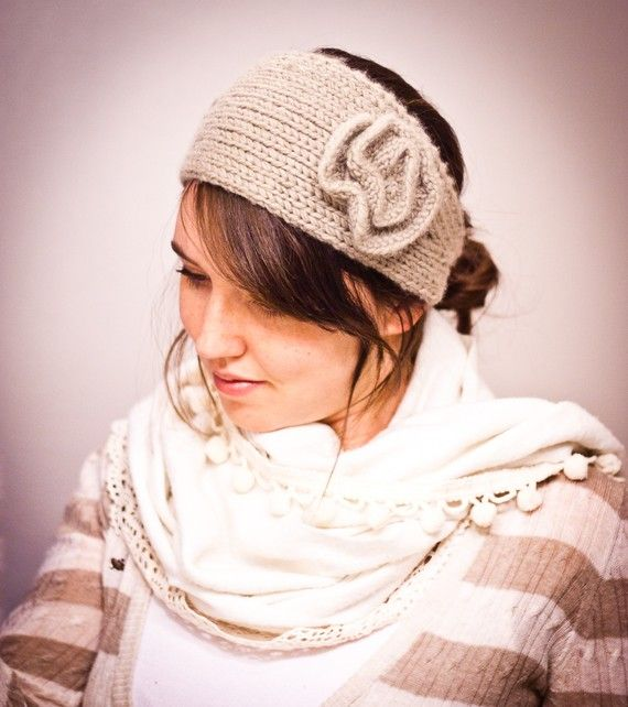 Knit Flower Headband Pattern Knit Me A World Pinterest Knit