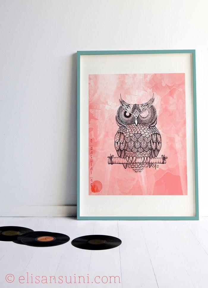 Owl, cornice 3 - Elisa Ansuini illustrations