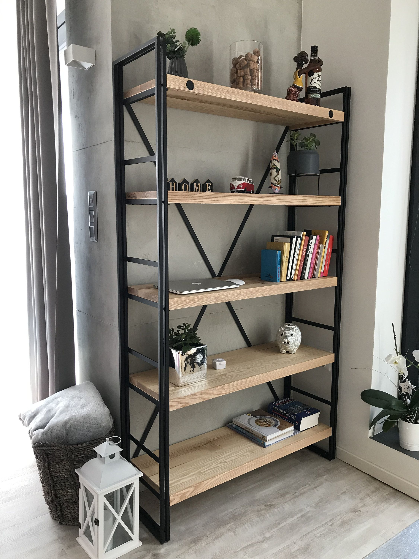 Industrial Bookcase Regal Ash Wood Steel Bookcase Wrought Iron Furniture Metal Furniture Design