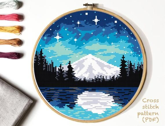 Photo of Landscape  Cross Stitch Pattern, mountain  counted cross stitch chart, starry sky, forest, lake,  round, embroidery, INSTANT DOWNLOAD PDF