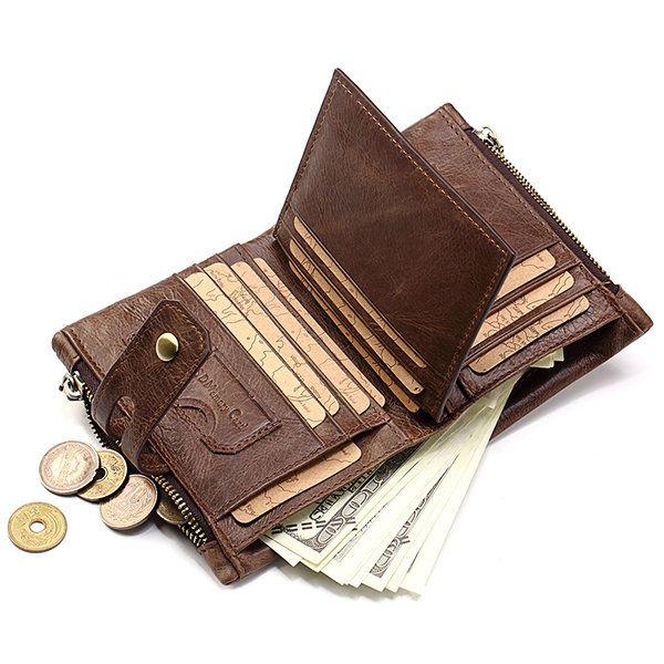 2019 Vintage Men/'s Genuine Leather Wallet Coin Purse Card Case Trifold Wallets