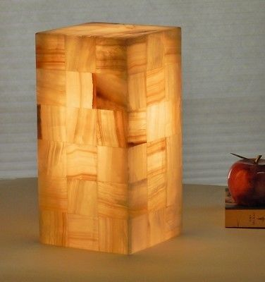 Natural Stone Alabaster/Onyx Table Lamp Cube/square/pillar Mood Light  Bedroom