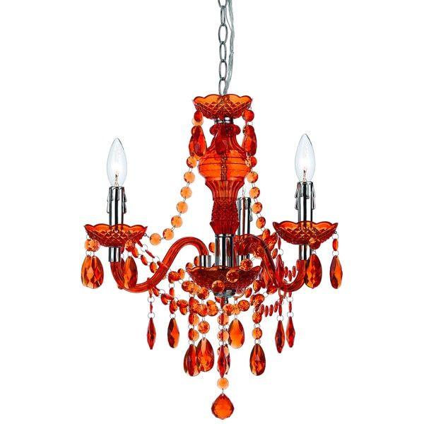 angelo:HOME Orange Faux Crystal 3-light/ 5-light Swag Plug-in Chandelier