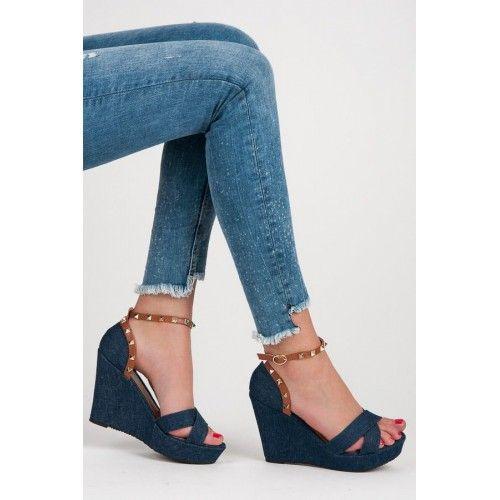 df0d927d4a78 Dámské sandály Abloom Lowem modré – modrá Moderní džínové sandály na klínku  – to se jen
