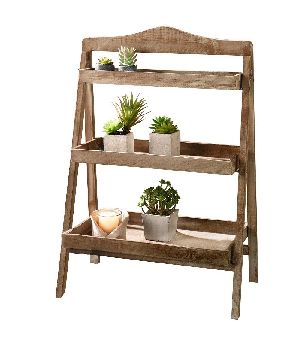 Bon Amazon.com : Foldable Wooden Plant Stand For Outdoor Or Greenhouse, Three  Shelves Product