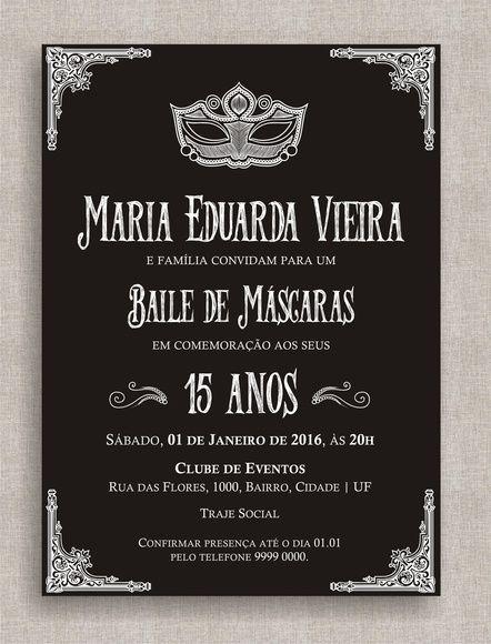 Convite Digital 15 Anos 02 Convite Baile De Mascaras Baile De