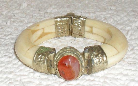 Vintage 60S Ox Bone Brass Bangle Bracelet Bone By -5800