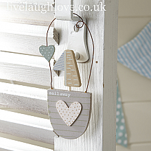 Sail Away Hanging Boat Decoration-Cream Spot Heart