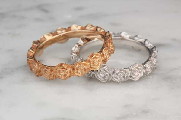 Ring O Roses Wedding Band In Both Rose Gold And White