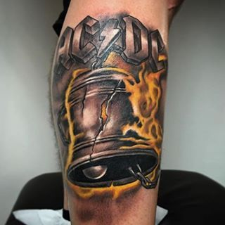 Acdc Tattoo Done By Manubadet Acdc Tattoo Metal Tattoo Heavy