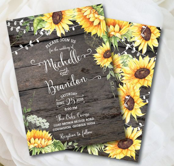 Rustic Sunflower Wedding Invitation Rustic Wedding Country Wedding - Sunflower wedding invitations templates