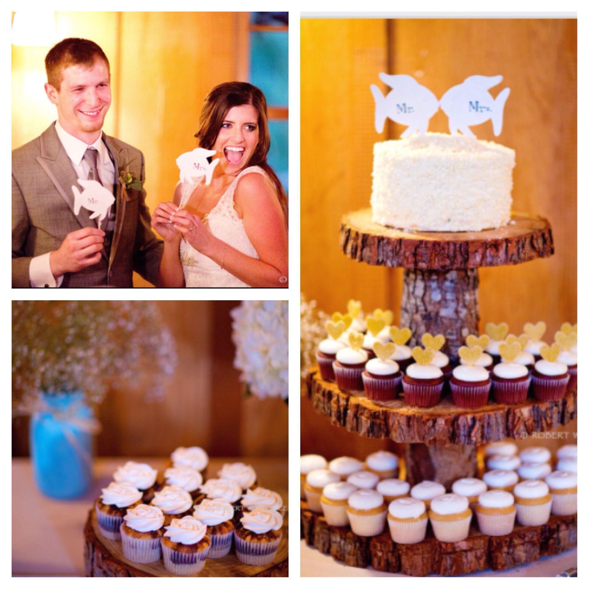 Mr & Mrs - An Alaskan couples dream cupcake tower! #nestledown #wedding #losgatos