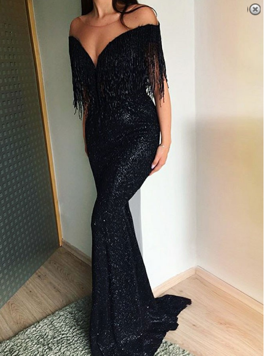 73759cce05d Mermaid Off-the-Shoulder Black Sequined Prom Dress with Tassel in ...