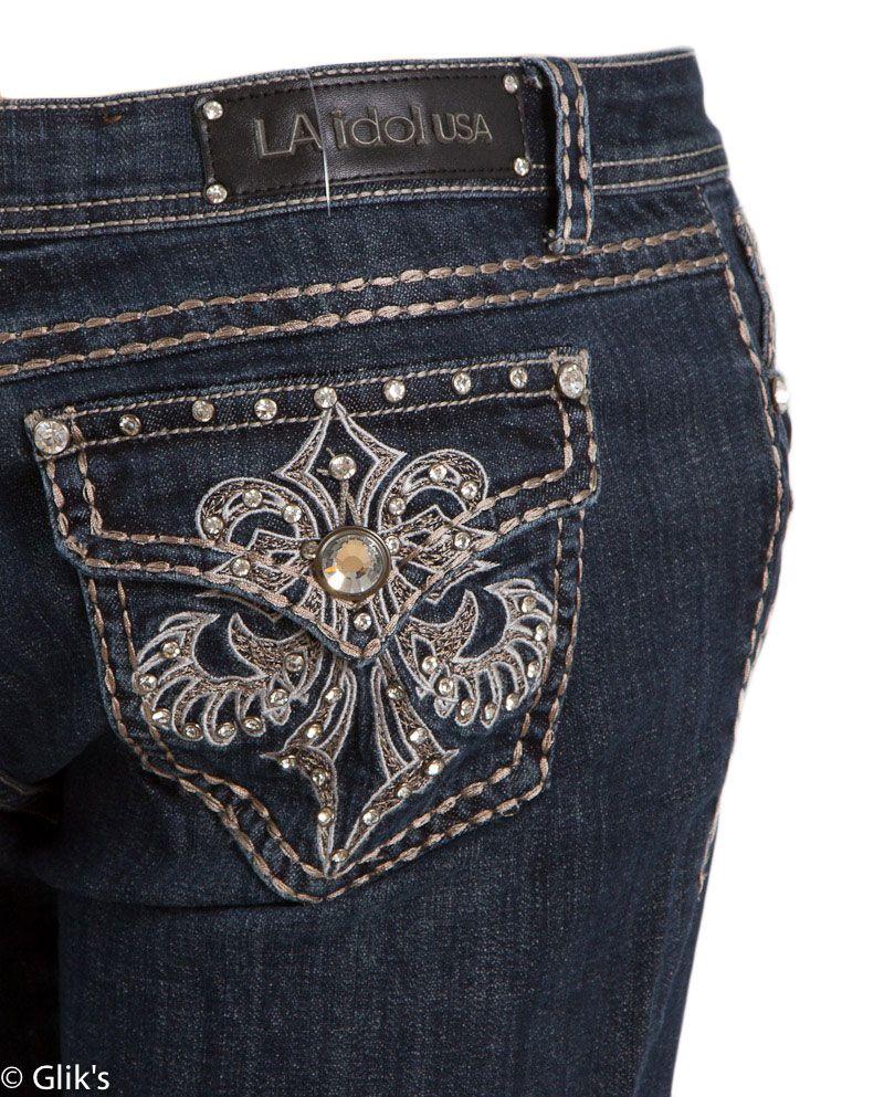 2404b1bf93b LA Idol Jeans Plus Size Fleur De Lis Skinny