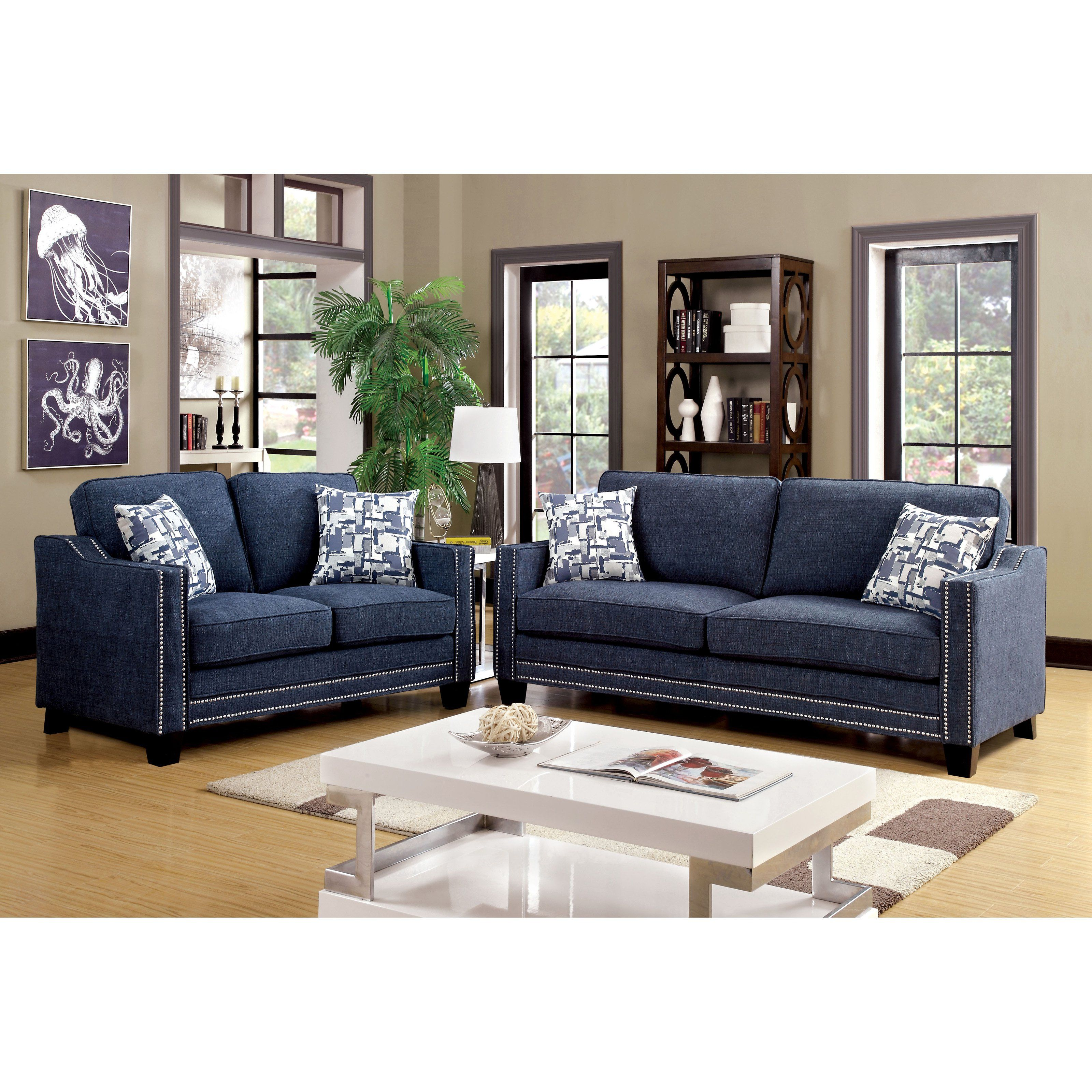 jive chenille living room furniture collection dark wood sets uk of america polin 2 piece studded sofa set idf 6157bl 2pc