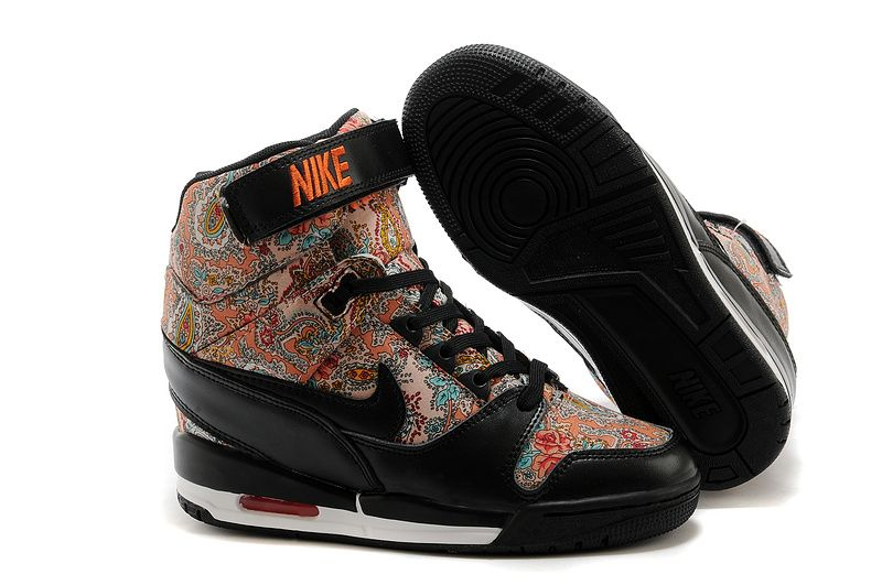 Wms Nike Air Revolution Sky Hi Womens Increase Paisley Print Flower Light  Orange True Black 599410