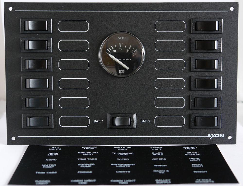 12 Way Marine Circuit Breaker Panel - 12 Volt DC - with