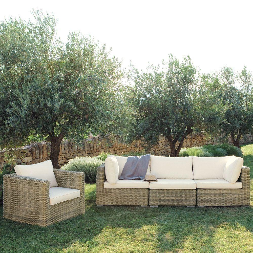 Fauteuil De Jardin En Resine Tressee In 2020 Corner Sofa Garden Garden Sofa Outdoor Sofa Sets