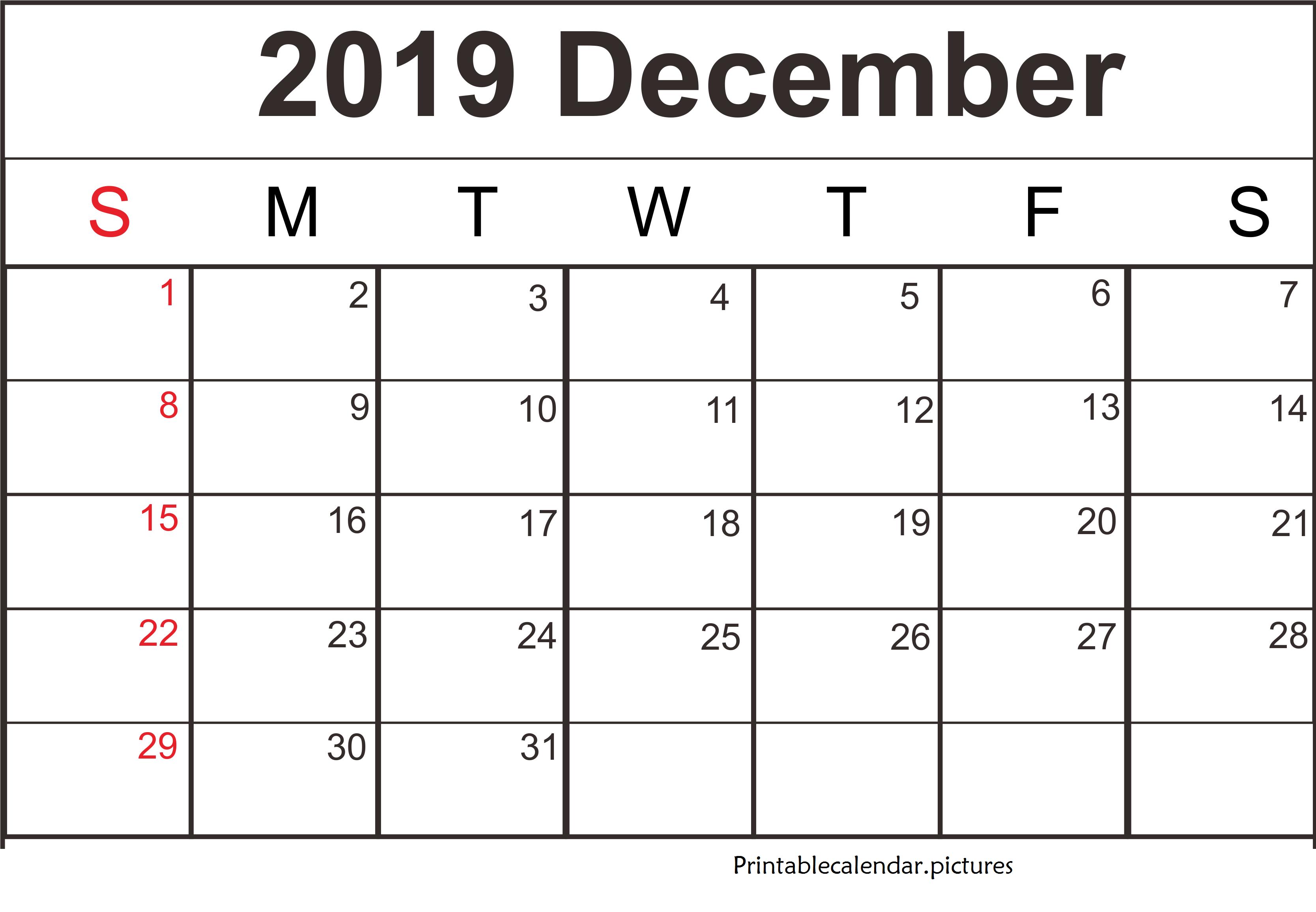 Word Printable December 2019 Calendar Calendar Template Printable Calendar Template October Calendar