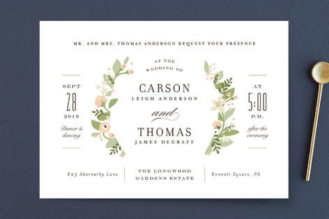 """Longwood Estates"" - Floral & Botanical, Elegant Wedding Invitations in Peach Sorbet by Jennifer Wick."