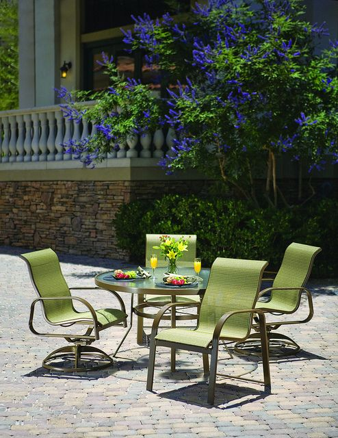 The Winston Collection Sea Grove Sling Dining Set Outdoor Furniture Design Outdoor Furniture Outdoor Patio Furniture Sets