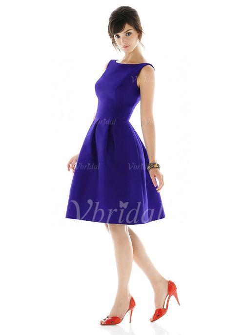 Evening Dresses - $89.99 - A-Line/Princess Scoop Neck Knee-Length Taffeta…