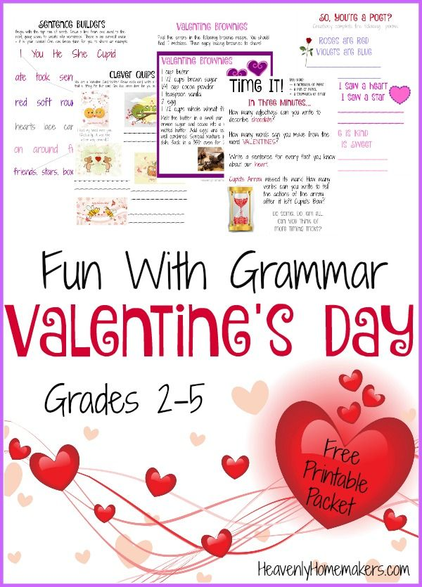 fun with grammar a valentine freebie holidays special events good grammar craft. Black Bedroom Furniture Sets. Home Design Ideas