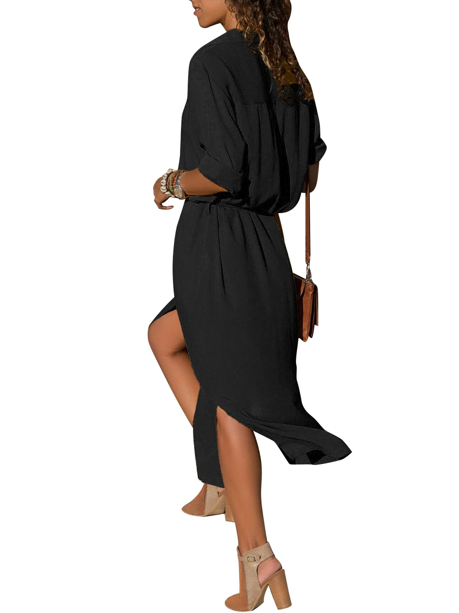 9552270459d Button Shirt Dresses for Women Maxi Long Sleeve Casual Loose Boho Tea Dress  Lapel V Neck Side Split Sun Dress Long