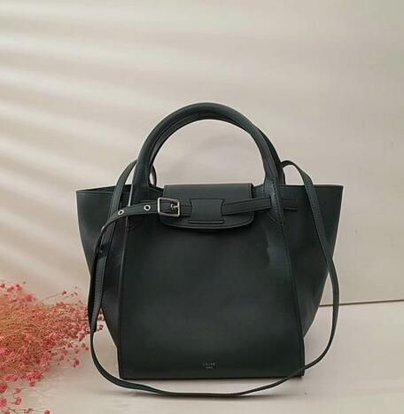 00c652b7f2 Celine Bags 2018-Celine Small Big Bag with Long Strap in dark green  Calfskin Leather