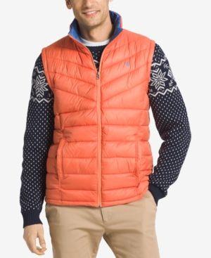 Izod Men's Apex Quilted Full Zip Puffer Vest Orange