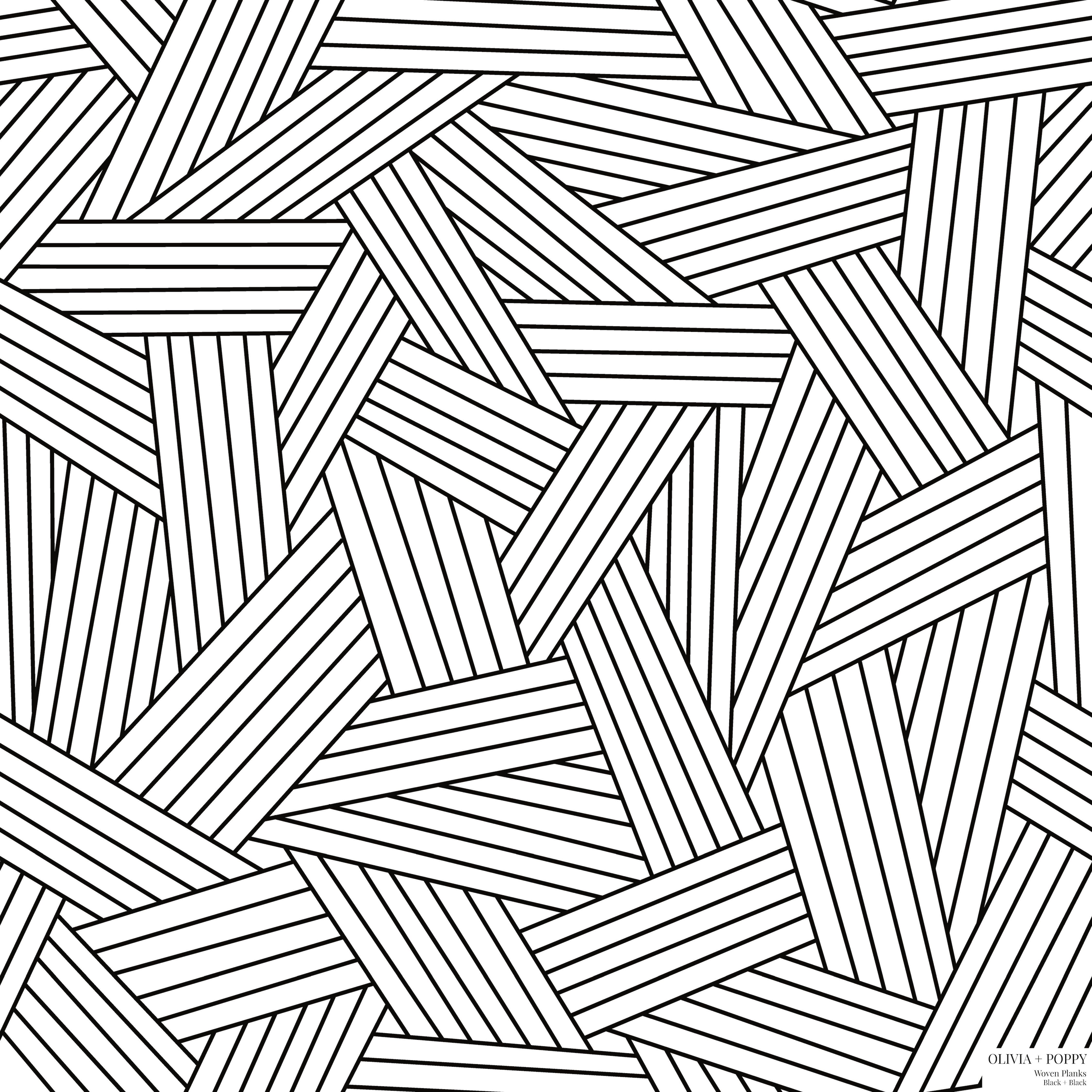 Woven Planks Pattern Drawings Black White Illustration
