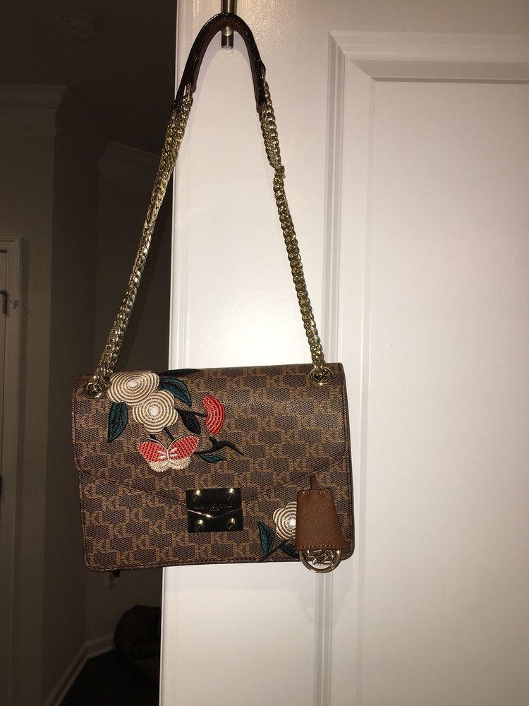 116b81d40c Karl Lagerfeld Paris Embroidered Faux Leather Logo Crossbody handbag   fashion  clothing  shoes