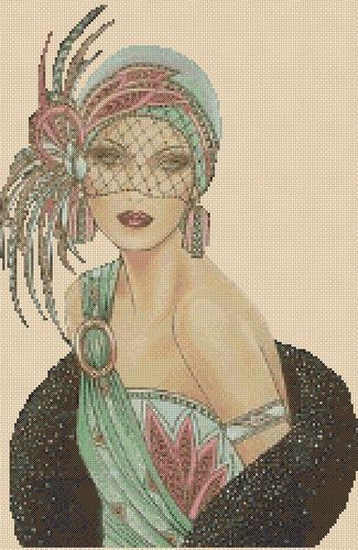 . Cross stitch chart  Art Deco Lady Flowerpower37-uk FREE UK P/&P.... No 12b