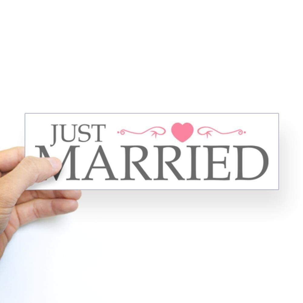 CafePress - Just Married (Heart Scroll Pink) Bumper Sticker - 10'x3' Rectangle Bumper Sticker Car Decal ** Check this awesome product by going to the link at the image.
