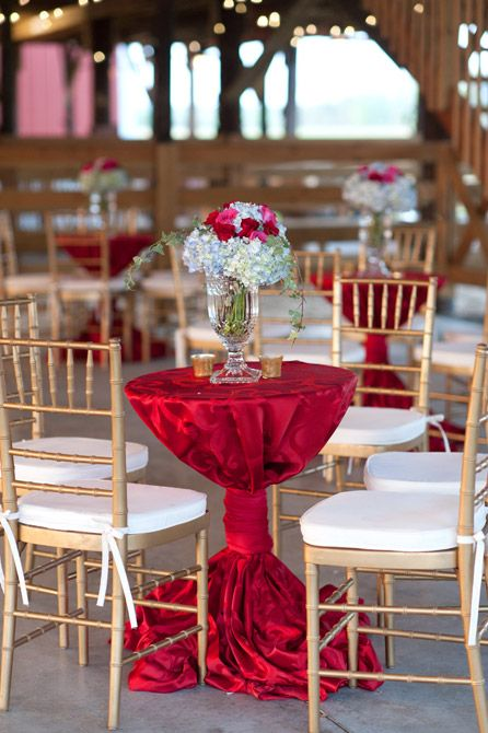 Elegant cocktail hour set up with red linens red and pink for Cocktail tables party