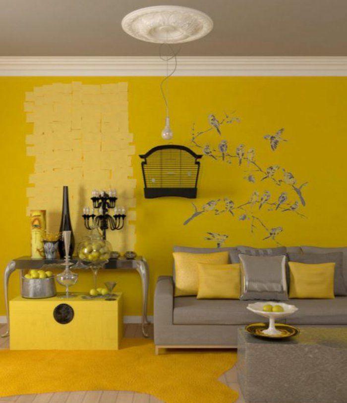 farbgestaltung wohnzimmer wandgestaltung wanddesign gelb stufen ...