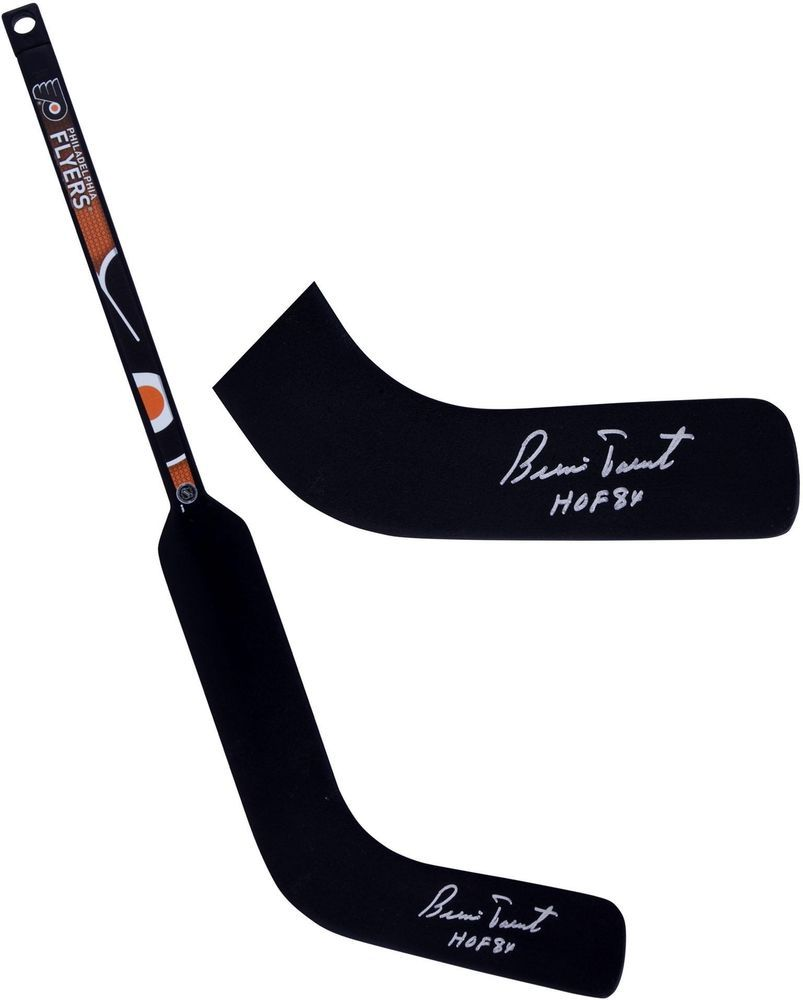 Bernie Parent Philadelphia Flyers Signed Mini Goalie Stick Hof 84 Insc Goalie Stick Bernie Parent Goalie