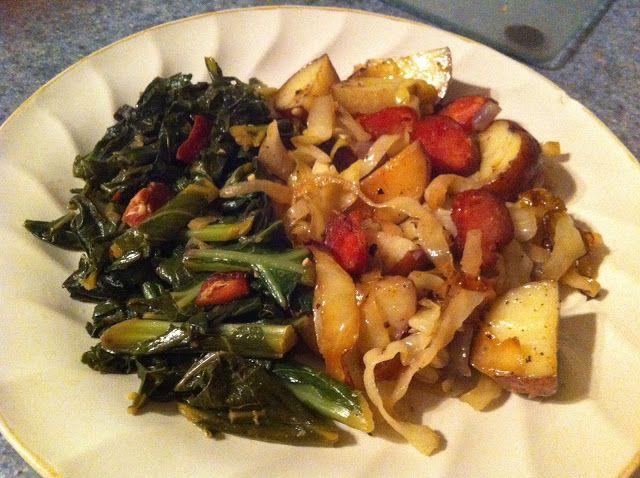 Photo of 37 Cooks: Easy Cabbage, Potato & Smoked Sausage Bake AND Smoked Tasso Greens #re…