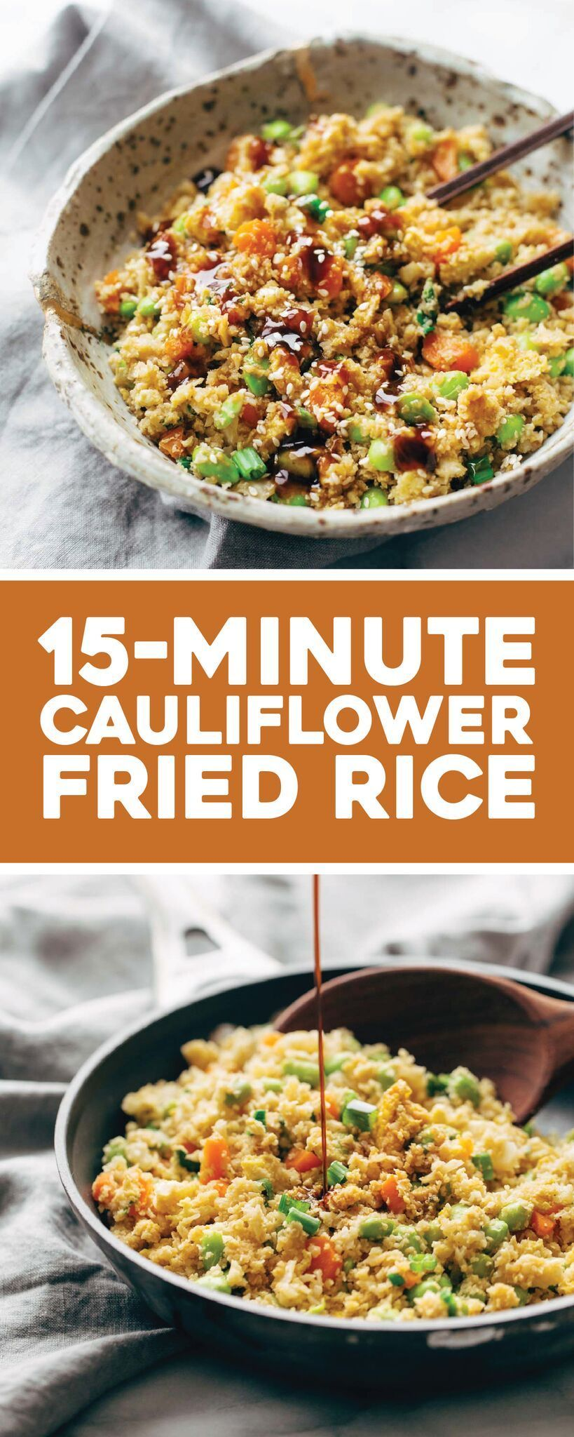 15 Minute Cauliflower Fried Rice - Pinch of Yum #cauliflowerfriedrice