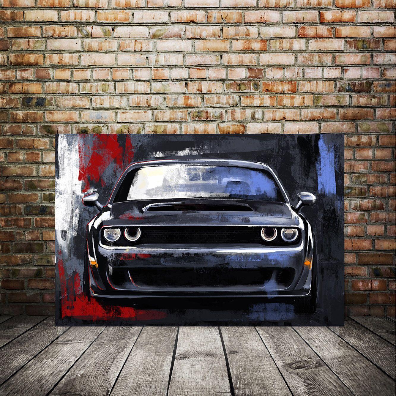 Dodge Challenger Art Print Automotive Art Redline Dodge Etsy In 2020 Car Painting Dodge Challenger Automotive Art