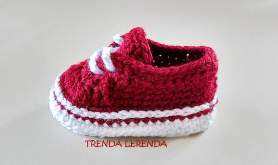 614769f65 VANS Old Skool style crochet baby booties PATTERN. Crochet baby ...