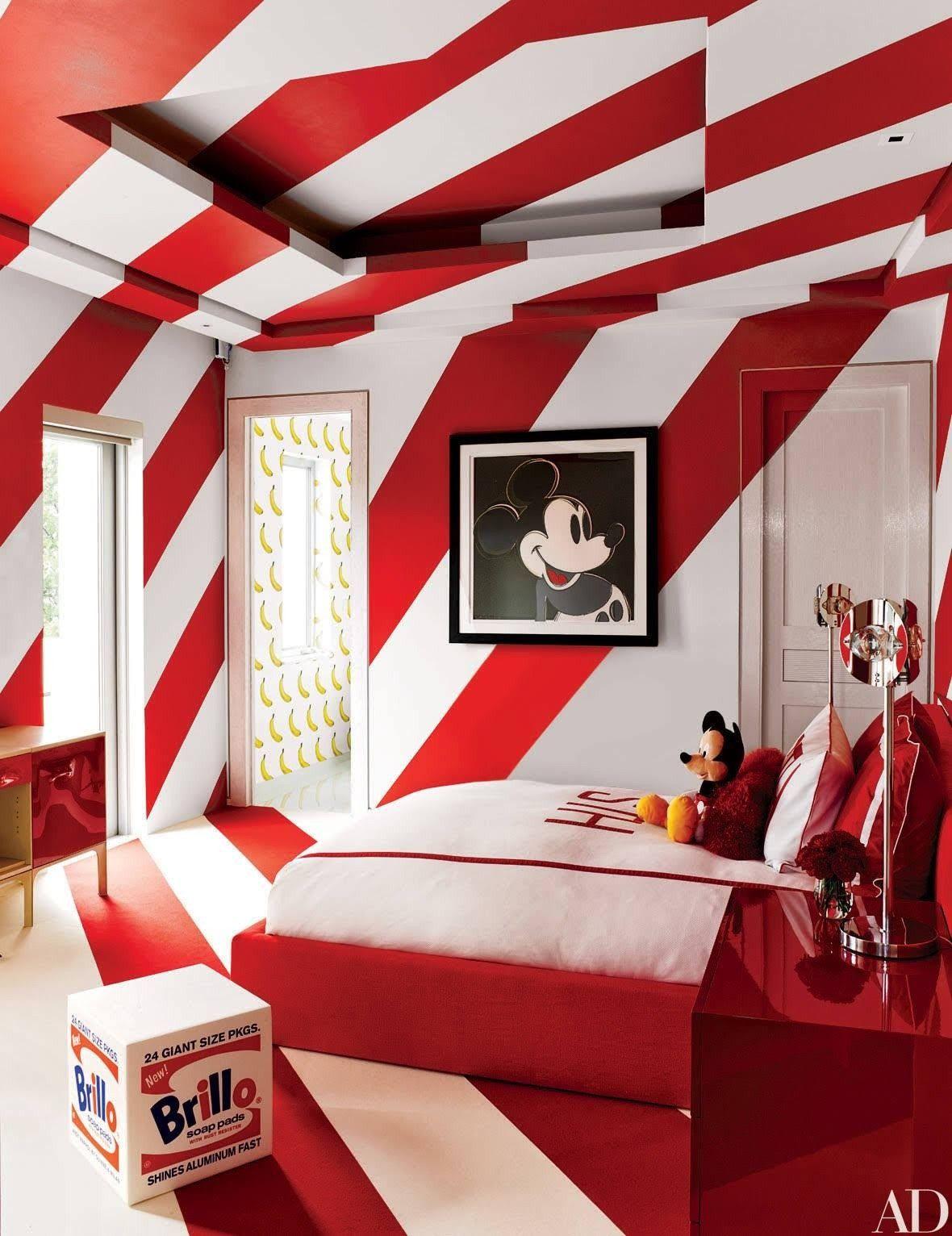 Kinderzimmer rot wei sehr stylisch modern mickey mouse - Kinderzimmer rot ...
