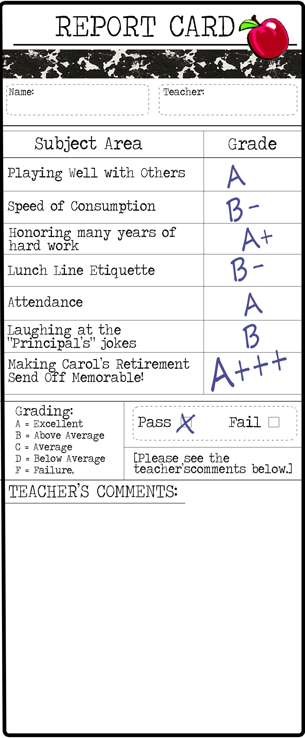 Teacher Retirement Thank You Note