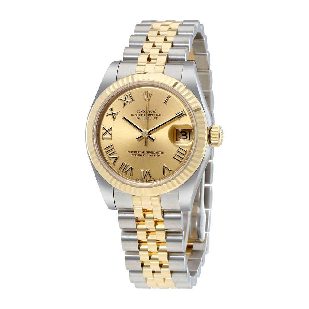 Rolex datejust lady champagne dial stainless steel and k yellow