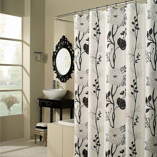 M Style M Style Cassandra Black White Shower Curtain Black Shower Curtains Modern Shower Curtains Yellow Shower Curtains