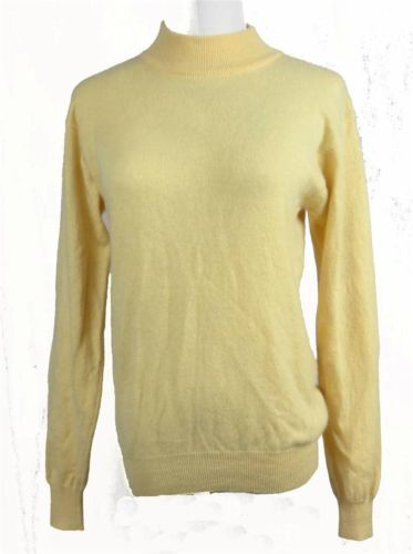 Images Womens Cashmere Sweater Pale Yellow Large High Neck Long ...