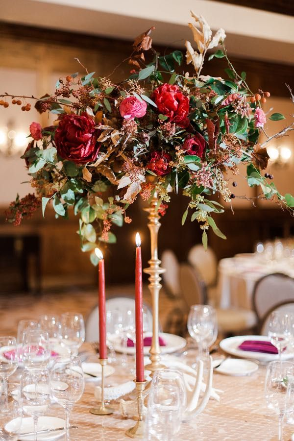 Stunning Winter Marsala Mountain Wedding Wedding Centerpiece Ideas