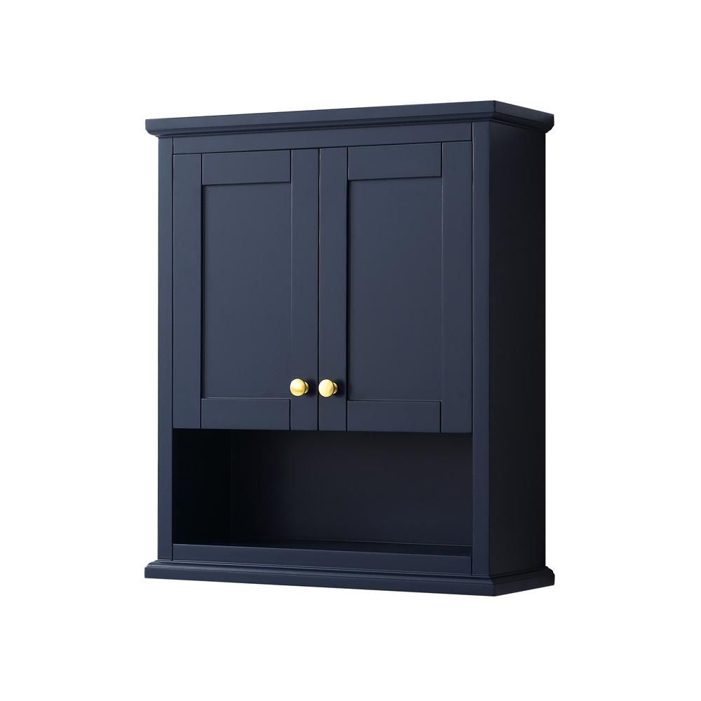 Wyndham Collection Avery 25 In W Bathroom Storage Wall Cabinet In Dark Blue In 2020 Wall Mounted Bathroom Storage Blue Bathroom Walls Dark Blue Bathrooms