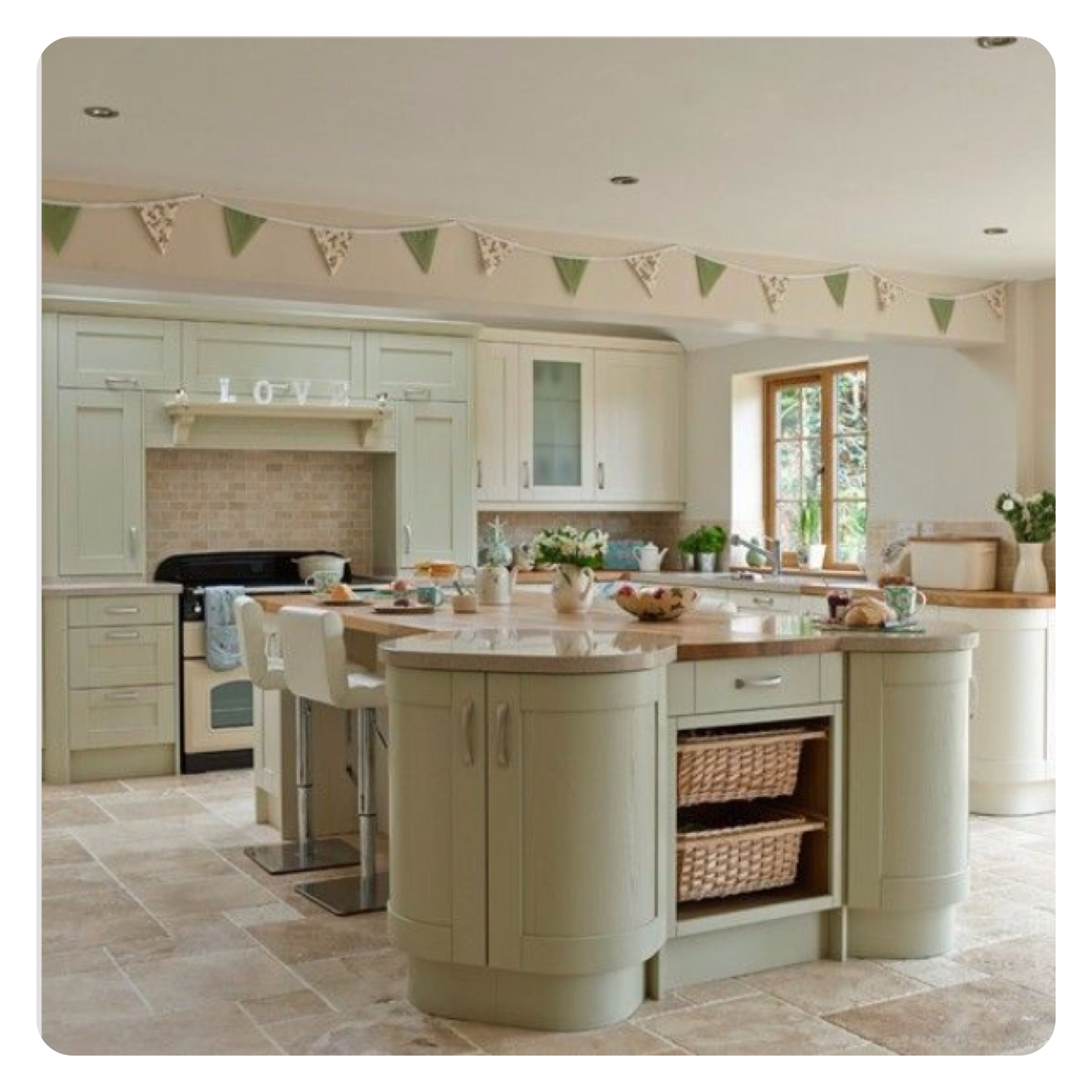 Cream and sage green kitchen I designed and ended up in a magazine